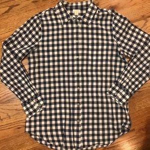 J. Crew Navy Checkered Camp Shirt
